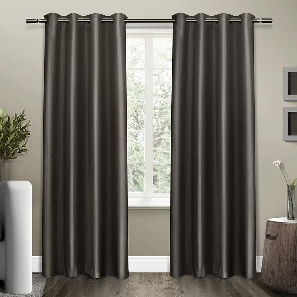 Shantung Black Pearl Faux Silk Thermal Grommet Top Window Curtain