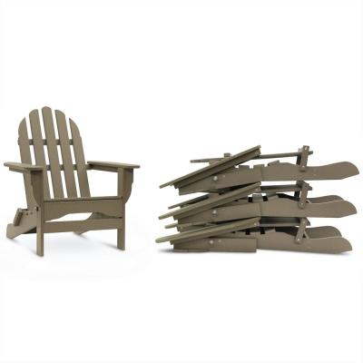Icon Weathered Wood 4-Piece Plastic Adirondack Chair Patio Seating Set