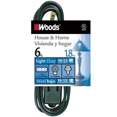 6 ft. 3-Outlet Indoor Extension Cords, Green