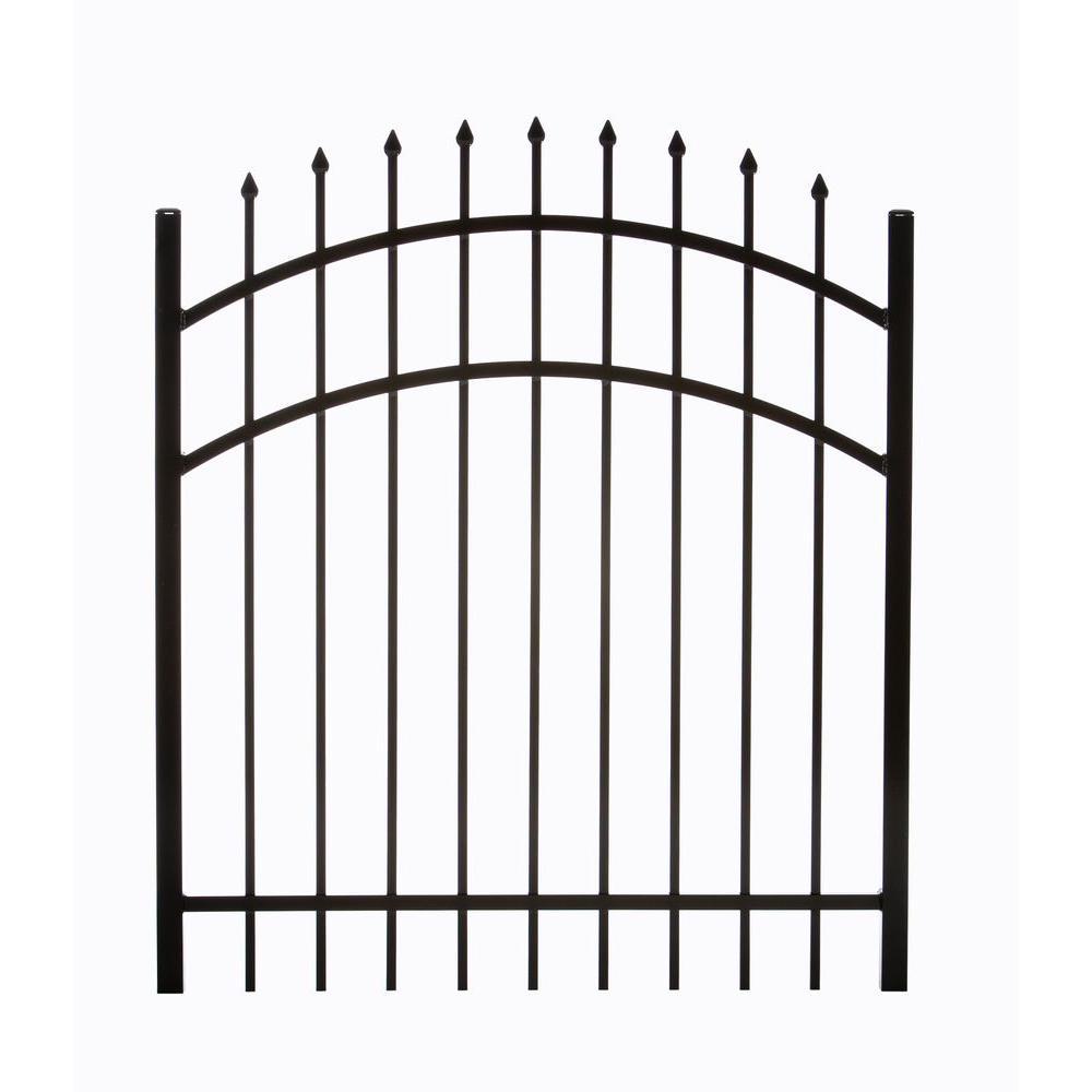 Clinton 3.88 ft. W x 4.5 ft. H Single Aluminum Walk Arched Fence Gate