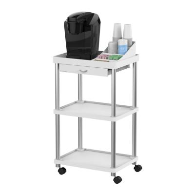 3-Tier 7-Compartment Rolling White Coffee Cart