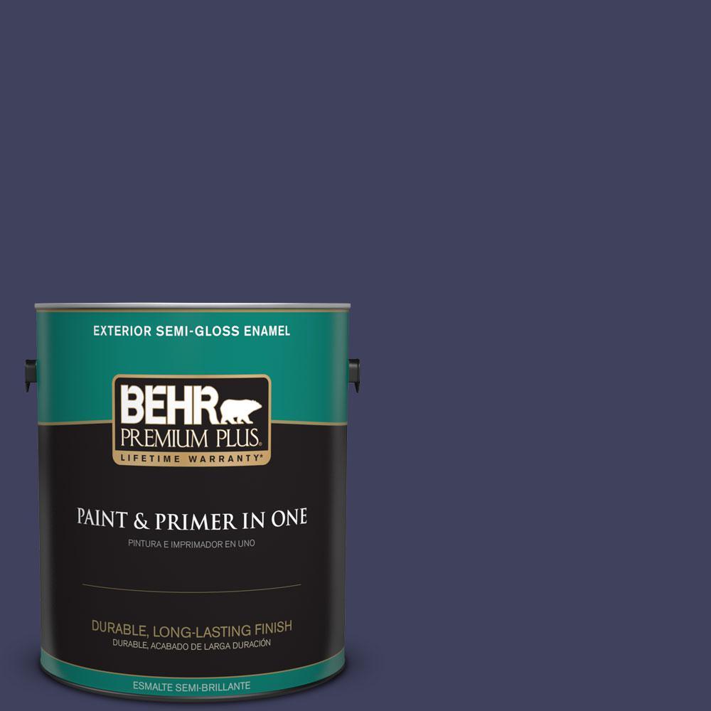 BEHR Premium Plus 1-gal. #PMD-92 Darkest Navy Semi-Gloss Enamel Exterior Paint