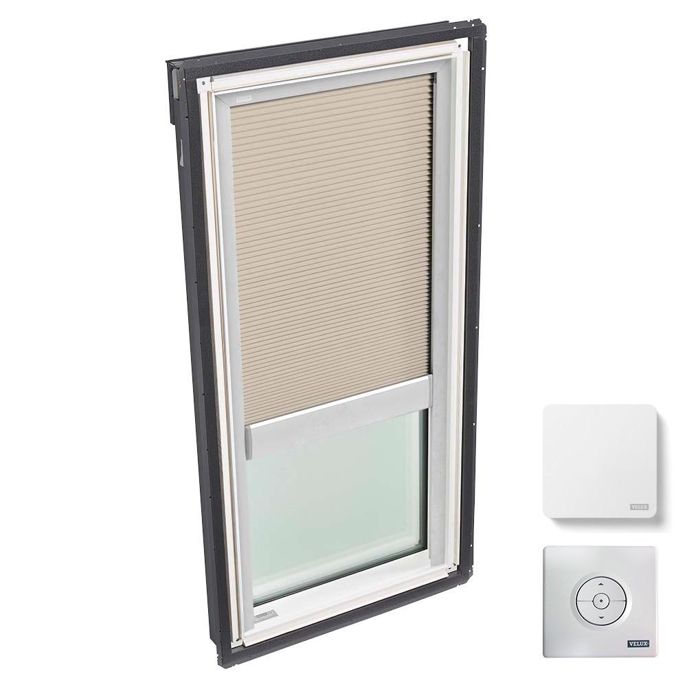21 in. x 37-7/8 in. Fixed Deck Mount Skylight, Laminated Low-E3 Glass & Classic Sand Solar Powered Light Filtering Blind