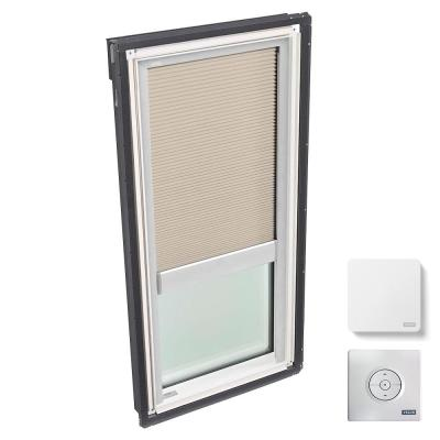 30.06 in. x 54.44 in. Fixed Deck Mount Skylight, Laminated LowE3 Glass, Classic Sand Solar Powered Light Filtering Blind