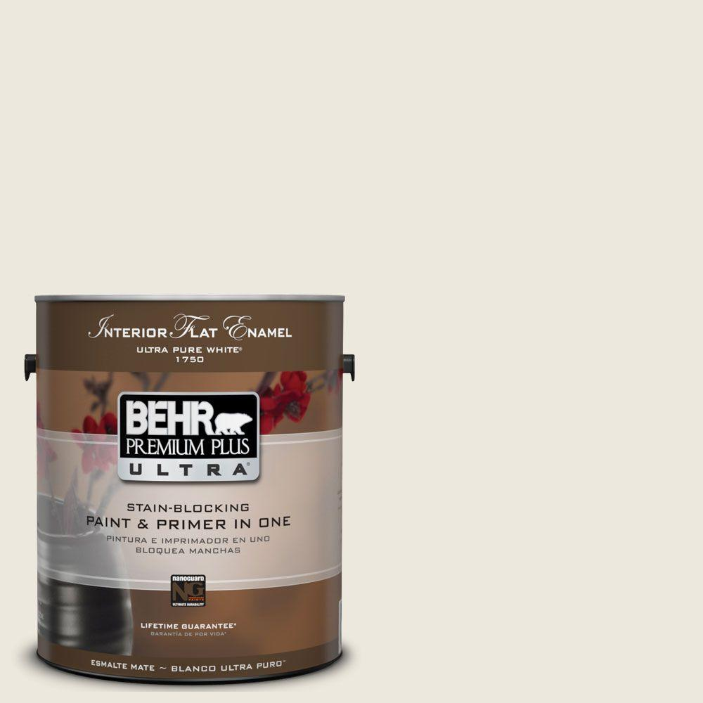 Behr premium plus ultra 1 gal ul190 13 ivory palace matte interior paint and primer in one for Best interior paint and primer in one
