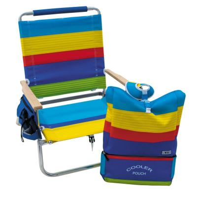 12 in. Multi-Color Striped Aluminum Folding Beach Chair with Backpack Straps Storage Pockets and Cupholder