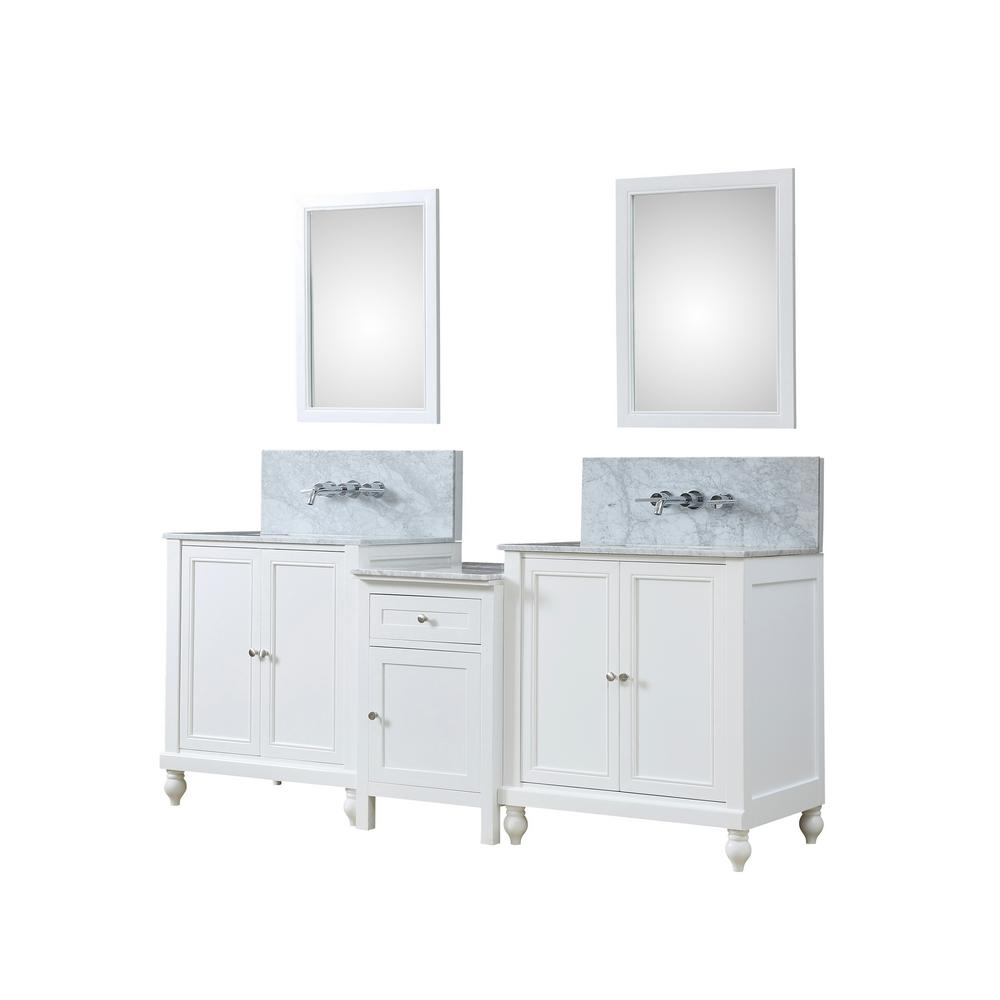 Direct Vanity Sink Premium Hybrid Bath Makeup 83 In W Vanity In White With Marble Vanity Top In White With White Basins And Mirrors 2s9 Wwc Wm Mu1 The Home Depot