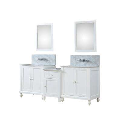 Premium Hybrid Bath Makeup 83 in. W Vanity in White with Marble Vanity Top in White with White Basins and Mirrors