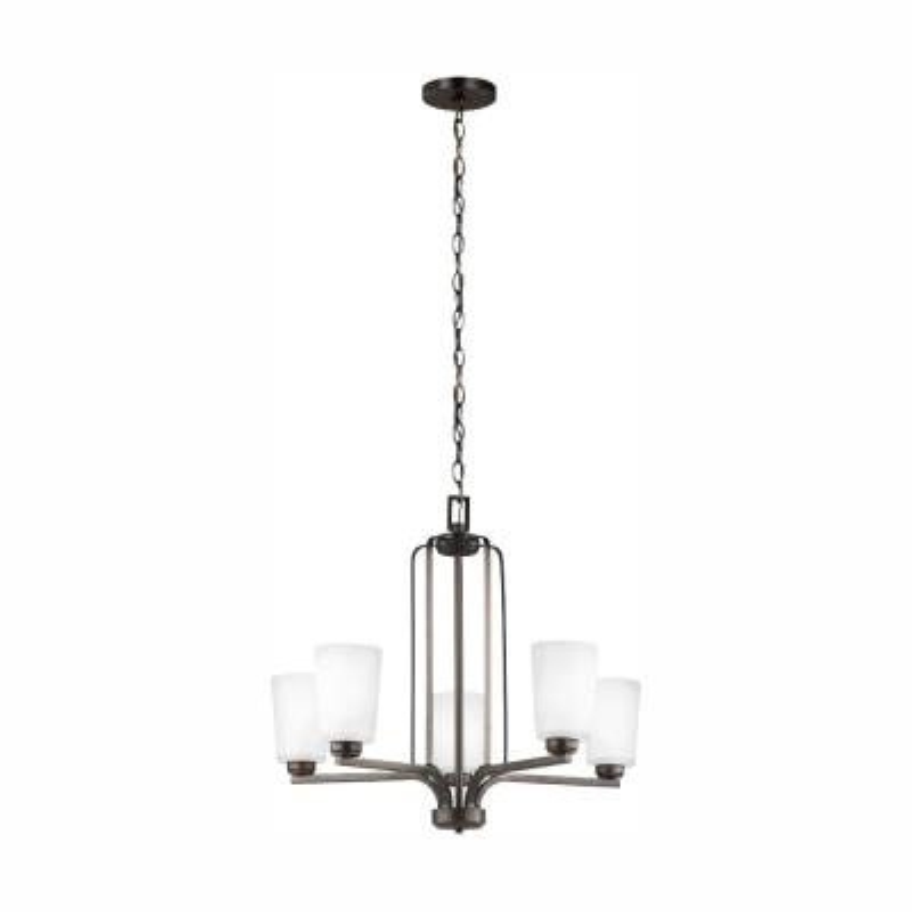 Franport 5-Light Burnt Sienna Chandelier with LED Bulbs