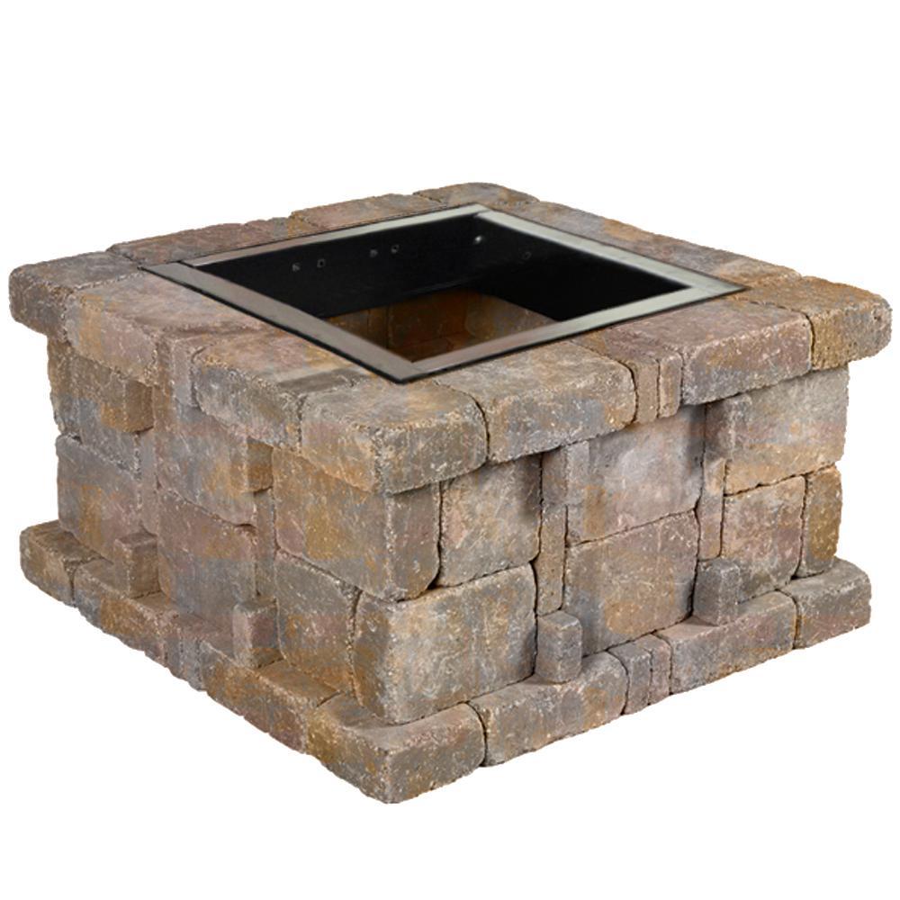 Pavestone RumbleStone 38.5 in. x 21 in. Square Concrete Fire Pit Kit No. 4 in Sierra Blend
