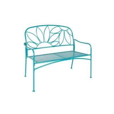 2-Seat Blue Metal Bright and Fun Outdoor Bench