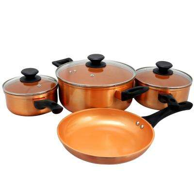 Larson 7-Piece Metallic Copper Cookware Set with Lids