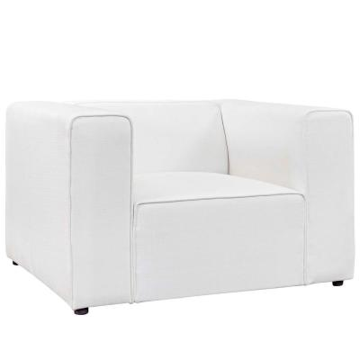 Mingle White Upholstered Fabric Armchair