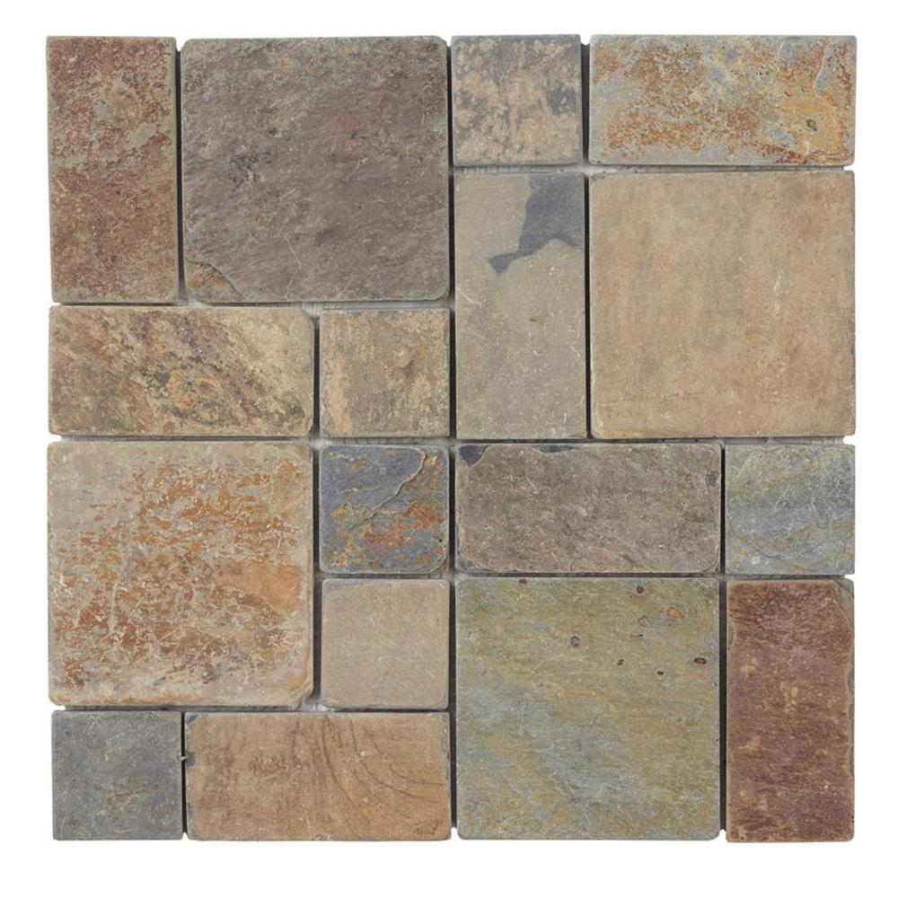 Jeffrey Court Rust Block Medley 11 75 In X 11 75 In X 11 5mm Slate Mosaic Floor And Wall Tile 99124 The Home Depot