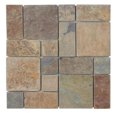 Rust Block Medley 11.75 in. x 11.75 in. x 11.5mm Slate Mosaic Floor and Wall Tile