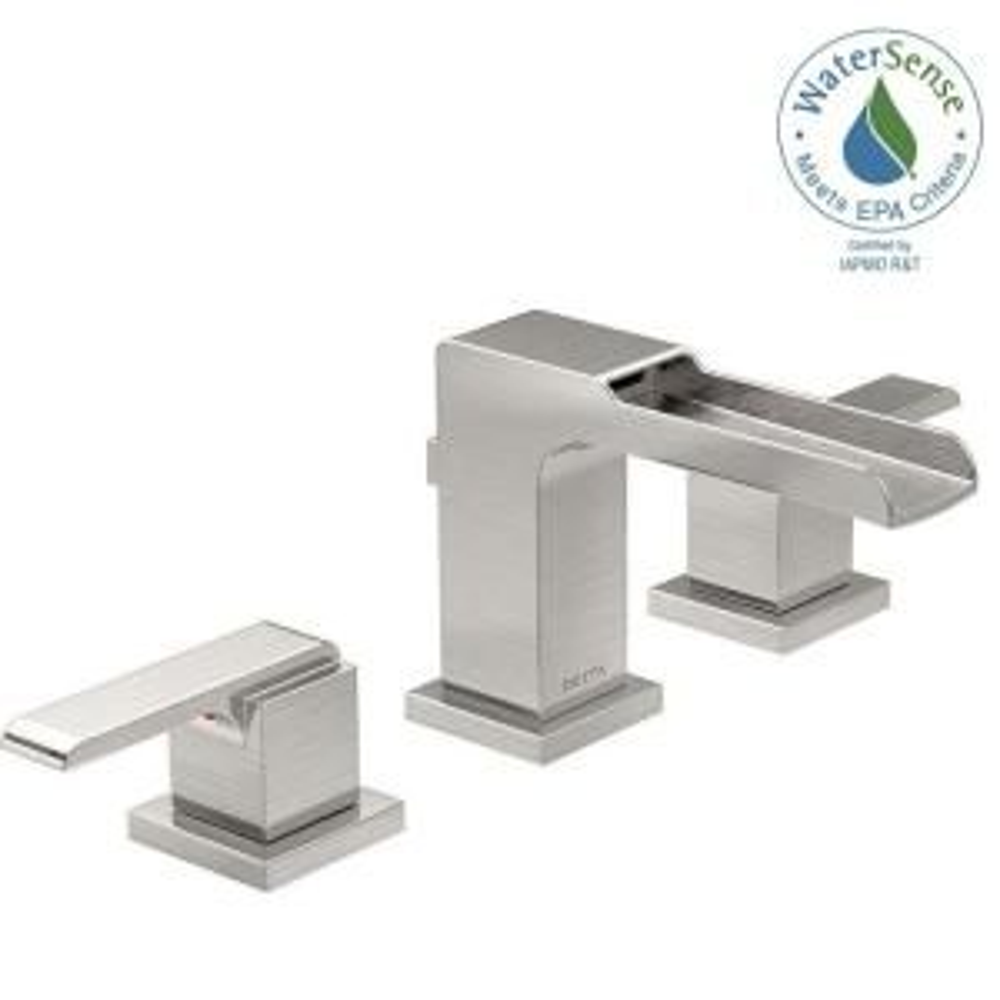 Bathroom Faucets Home Depot Delta delta tolva 8 in. widespread 2-handle bathroom faucet in stainless