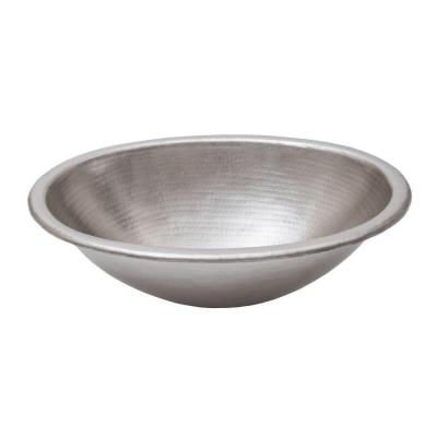 Self-Rimming Oval Hammered Copper 19 in. 0-Hole Bathroom Sink in Nickel