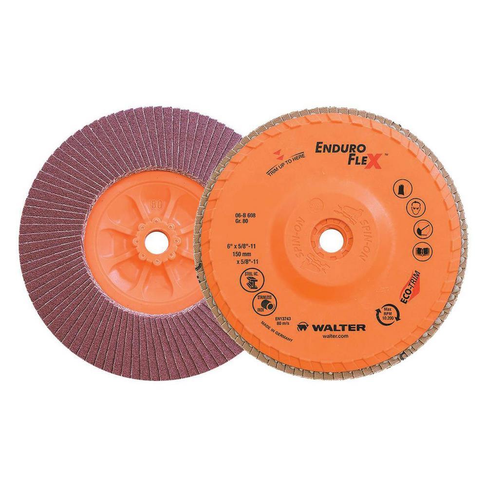 ENDURO-FLEX 6 in. x 5/8-11 in. Arbor GR80 the Longest Life Flap Disc (10-Pack)