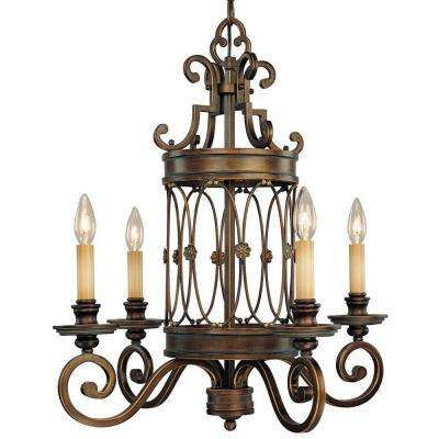 Atterbury 4-Light Deep Flax Bronze Chandelier