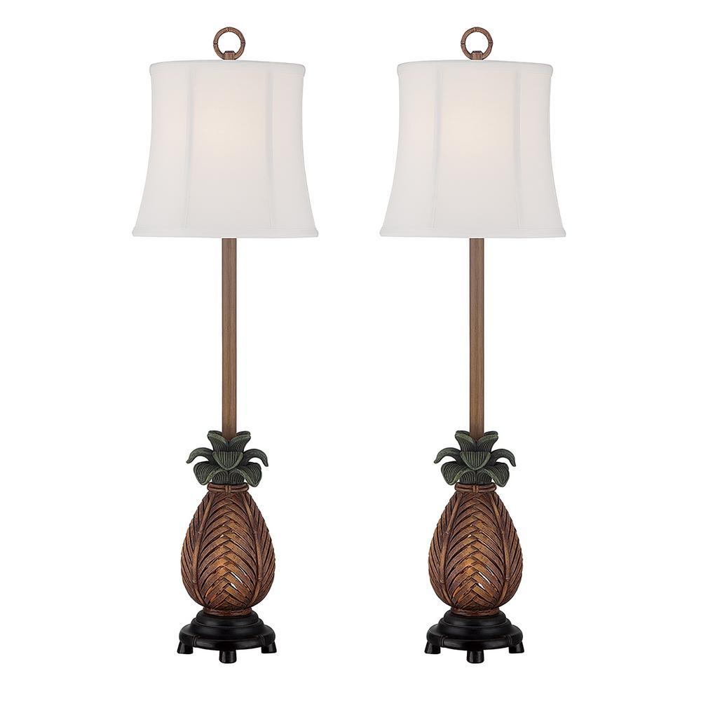 35 in. Antique Brown Indoor Table Lamp Set