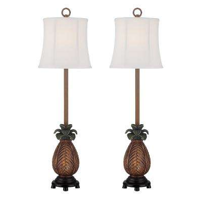 35 in. Antique Brown Indoor Table Lamp Set