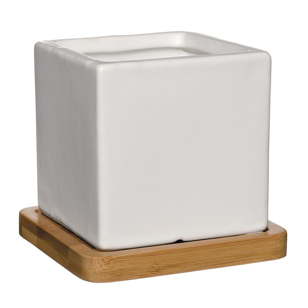 White Ceramic Square Planter With Tray