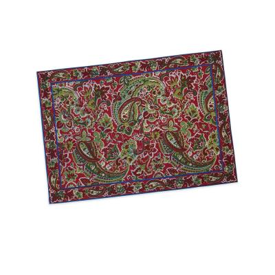 Priscilla's 14 in. x 19 in. Red Paisley Cotton Placemats (Set of 4)