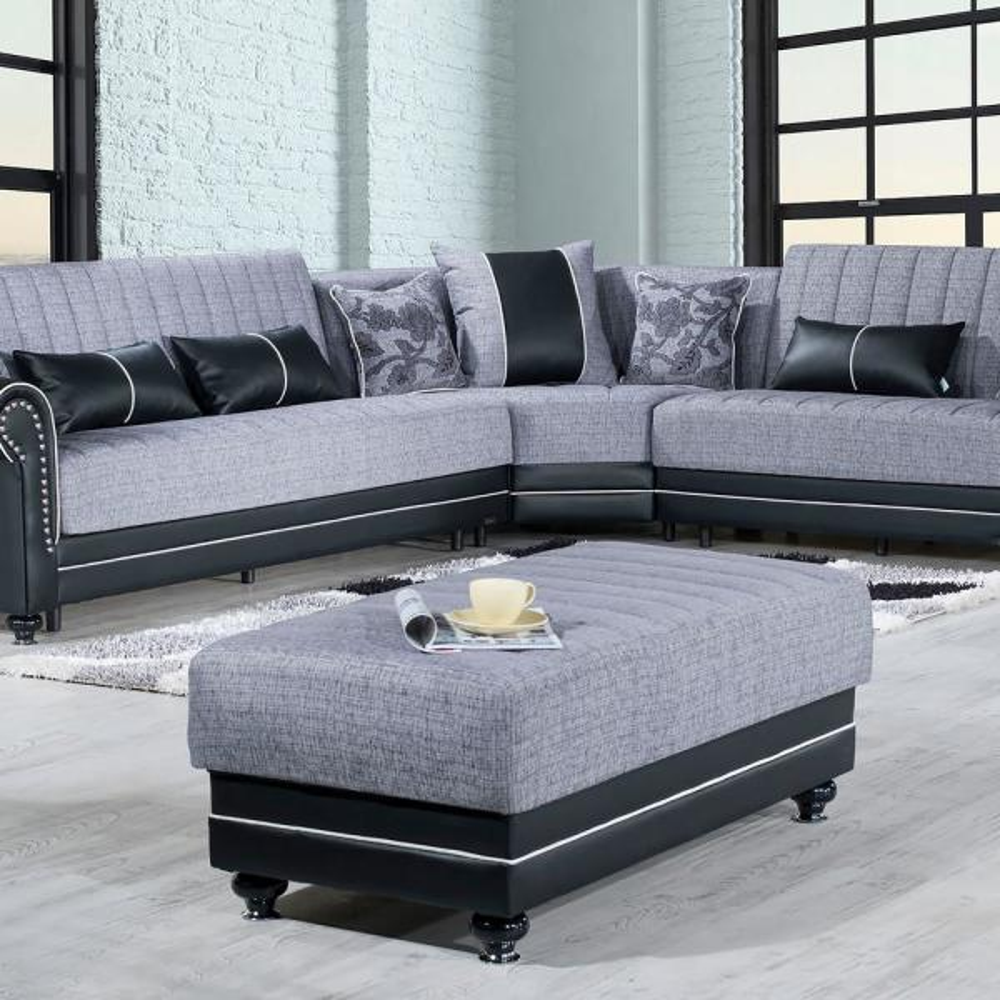 Ottomanson Royal Home Gray Fabric Upholstery Modern Ottoman Roy O