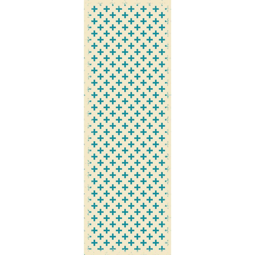 Elegant Cross Design 2ft x 6ft teal & white Indoor/Outdoor vinyl