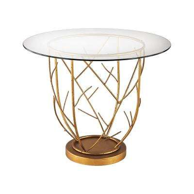 Thicket Gold Leaf and Clear Glass Entry Table