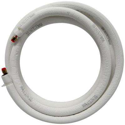1/4 in. x 1/2 in. x 15 ft. Universal Piping Assembly for Ductless Mini Split with White Non-Tear Insulation