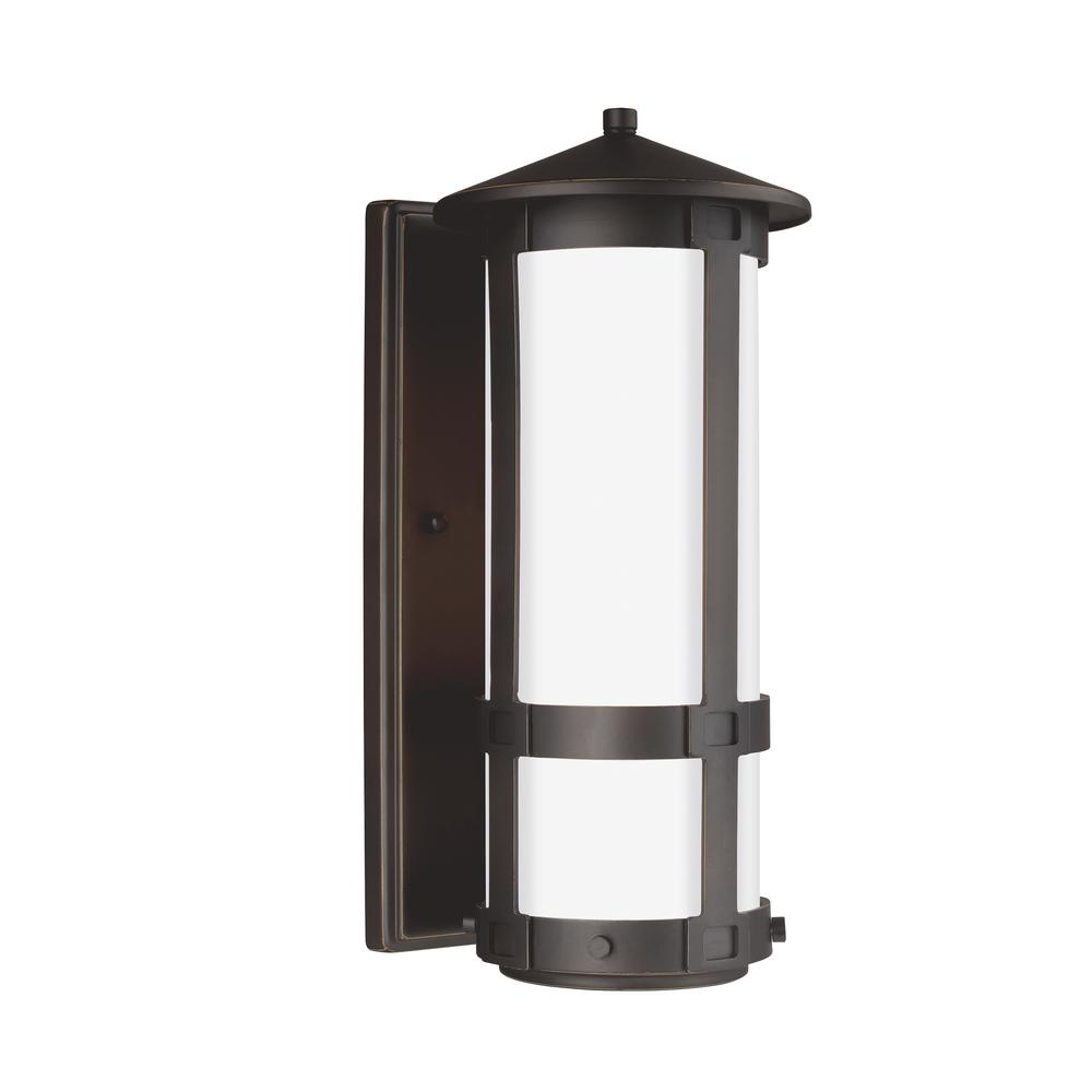 Groveton 1-Light Outdoor Antique Bronze Post Light with LED Bulb