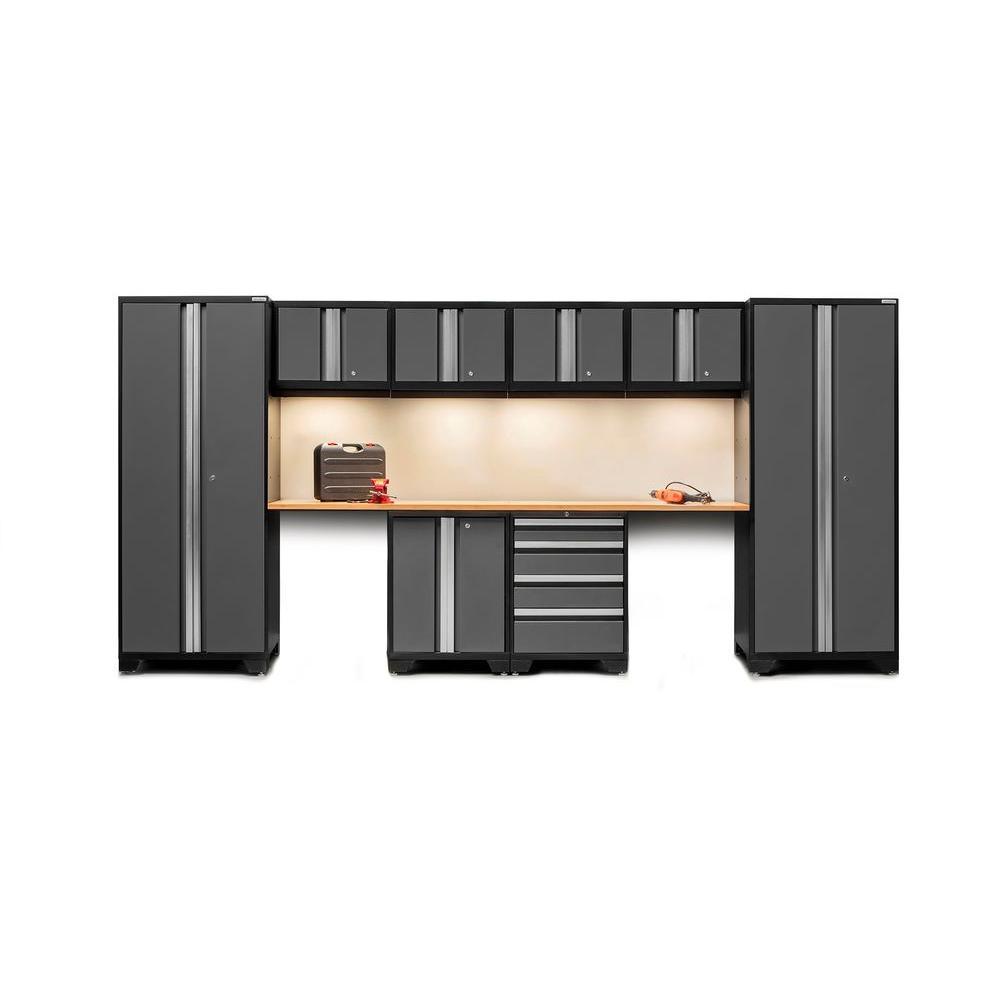 Bold 3 Series 77 in. H x 156 in. W x 18 in. D 24-Gauge Welded Steel Bamboo Worktop Cabinet Set in Gray (10-Piece)