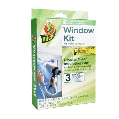 62 in. x 126 in. Crystal Clear Window Kit Shrink Film (3-Pack)