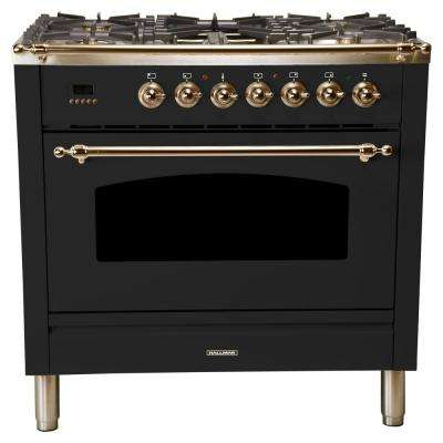 36 in. 3.55 cu. ft. Single Oven Dual Fuel Italian Range True Convection,5 Burners, LP Gas, Bronze Trim/Glossy Black