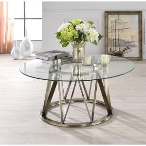 +3. ACME Furniture Perjan Clear Glass And Antique Brass Coffee Table