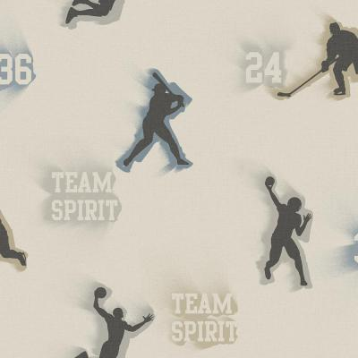 Glavine Grey Sports Figures Toss Wallpaper Sample