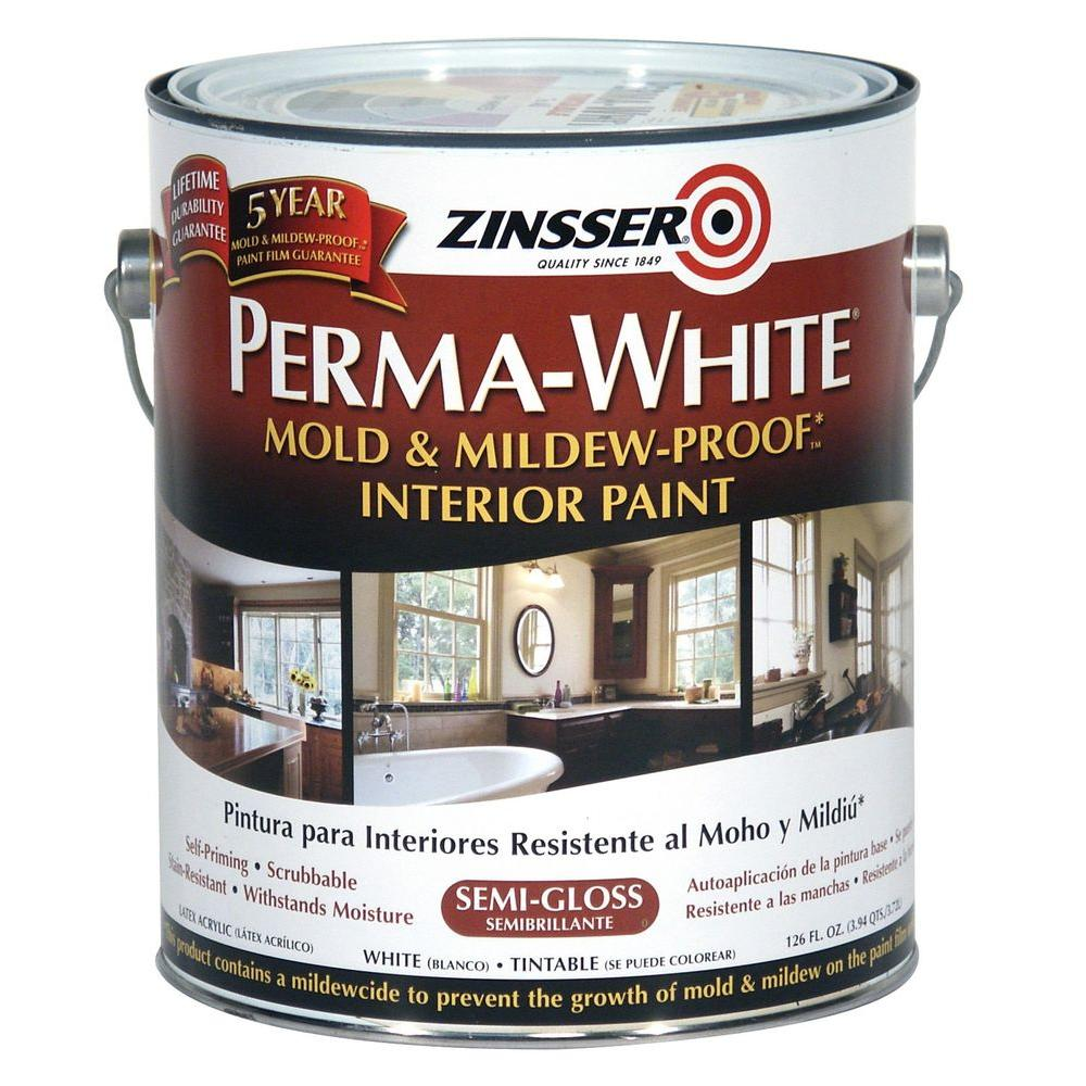 Zinsser Gal PermaWhite Mold And MildewProof SemiGloss Interior - Bathroom paint to prevent mold
