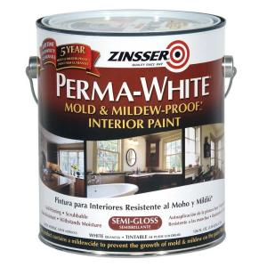 Zinsser Perma White 1 Gal Mold Mildew Proof Semi Gloss Interior Paint 2 Pack 02761 The Home Depot