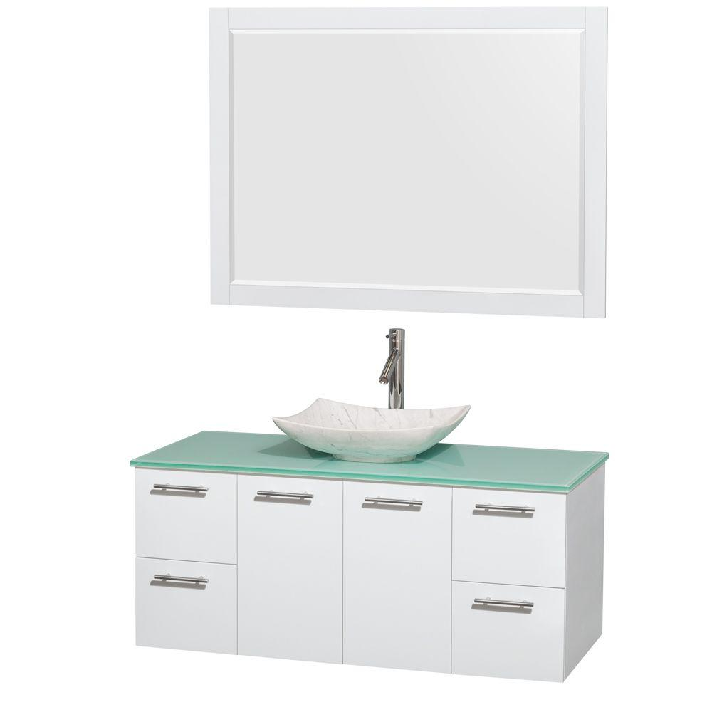 Wyndham Amare 48 in. Vanity in Glossy White with Glass Va...