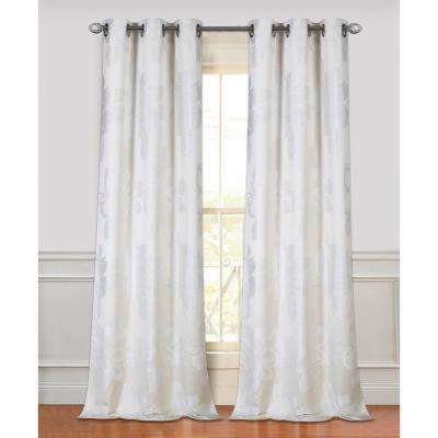 84 in. Floral Park Grommet Curtain Panel Pair in Ivory