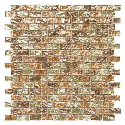 Infusion Beige/Cream 11.375 in. x 11.875 in. x 8 mm Interlocking Textured Glass Brick Mosaic Tile