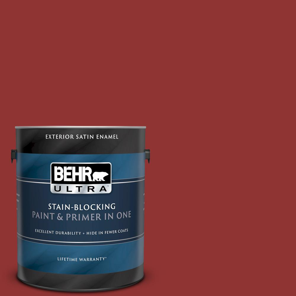Behr Ultra 1 Gal Bic 49 Red Red Red Satin Enamel Exterior Paint And Primer In One 985301 The Home Depot