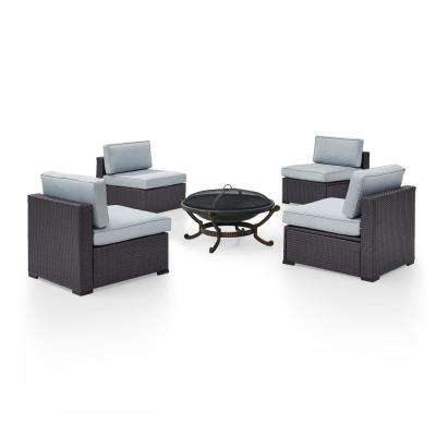 Biscayne 5-Piece Wicker Outdoor Sectional Set with Mist Cushions