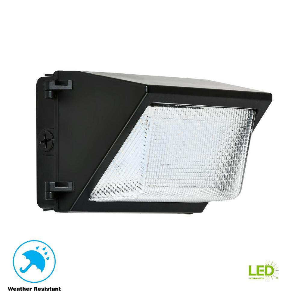 30-Watt Black Outdoor Integrated LED Rectangular Wall Pack Light