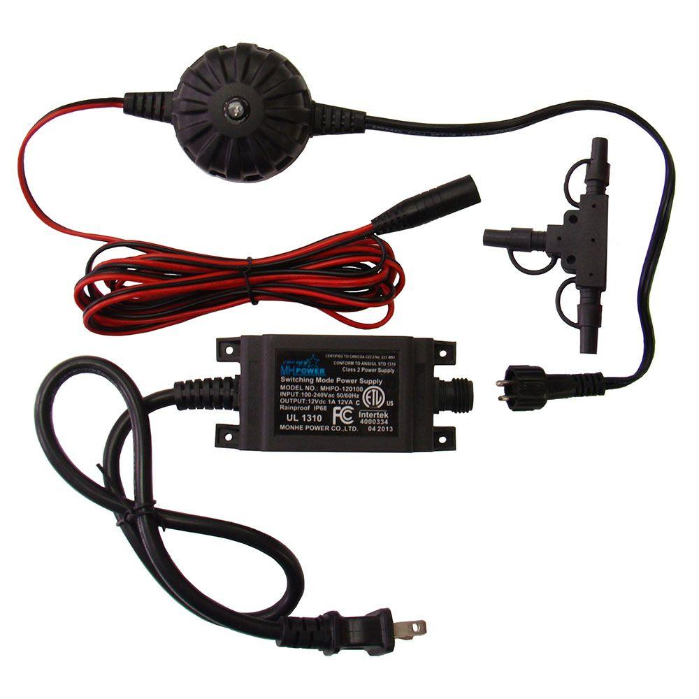 Veranda 12-Watt Low Voltage Outdoor Transformer with 9 ft. Harness Wire and T-Connector Kit