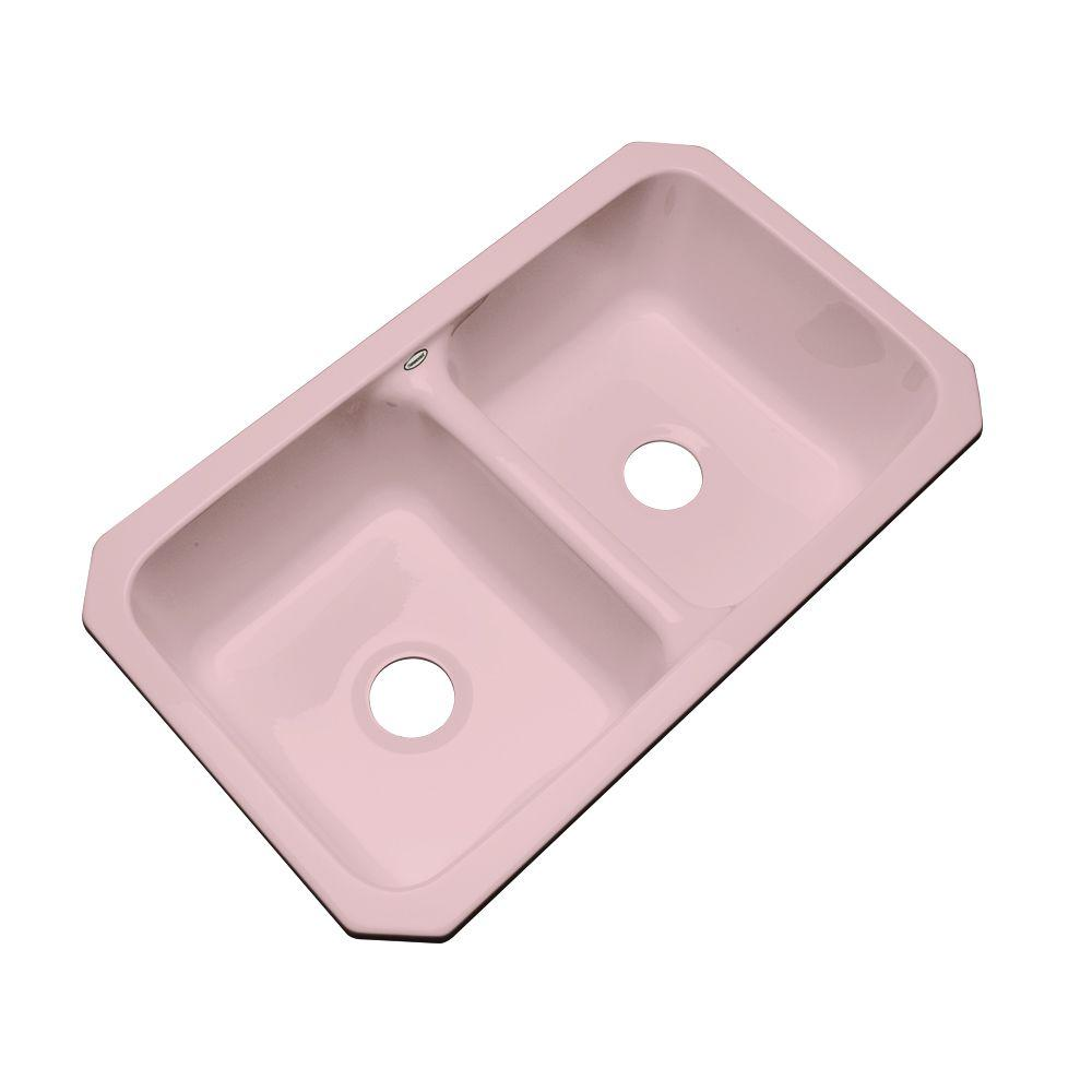 Newport Undermount Acrylic 33x19.5x9 in. 0-Hole Double Bowl Kitchen Sink in