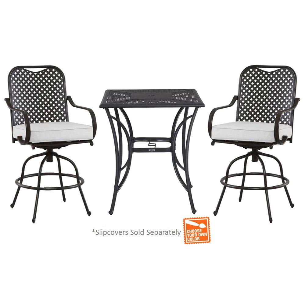 Hampton Bay Fall River 3-Piece Metal Outdoor Bar Height Dining Set with Unfinished Cushions
