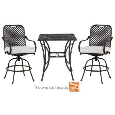 Fall River 3-Piece Metal Outdoor Bar Height Dining Set with Unfinished Cushions