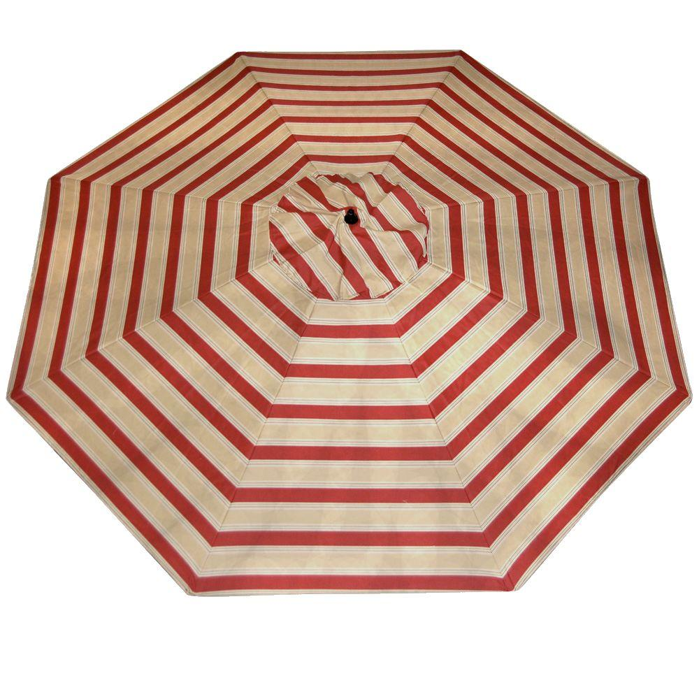 Plantation Patterns 11 ft. Patio Umbrella in Chili Stripe-DISCONTINUED